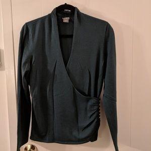 Ann Taylor Blue Green Faux Wrap V-neck Sweater